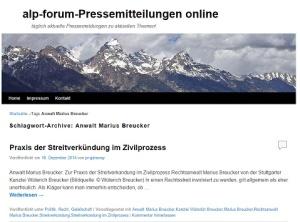 alp-forum-Pressemitteilungen online