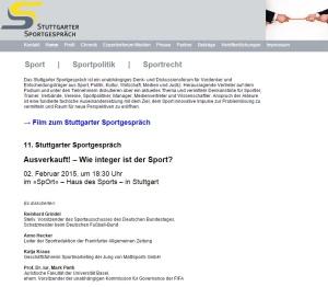 11 Stuttgarter Sportgespräch Wie integer ist der Sport