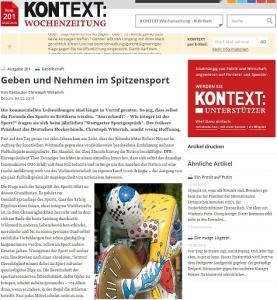 Kontext Wochenzeitung Geben und Nehmen im Spitzensport Von Gastautor Christoph Wüterich