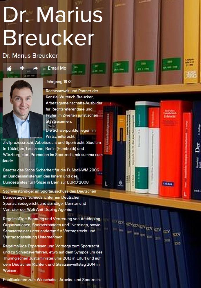 Marius Breucker Schiedsverfahren Regelmäßige Expertisen und Vorträge zum Sportrecht und zu Schiedsverfahren, etwa auf dem Symposium des Thüringischen Justizministeriums