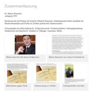 Marius Breucker Schwerpunkte im Wirtschaftsrecht, Zivilprozessrecht, Schiedsverfahren, Vertragsgestaltung, Arbeitsrecht und Sportrecht. Studium in Tübingen, Lausanne, Berlin