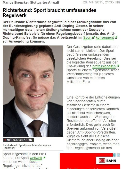 Marius Breucker Stuttgarter Anwalt - Richterbund Sport braucht umfassendes Regelwerk