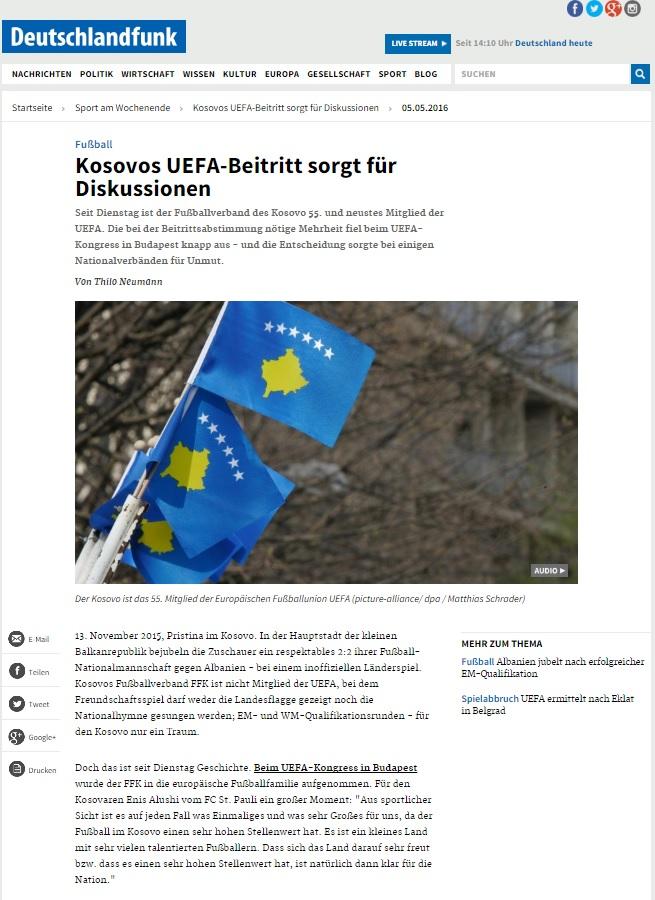 Marius Breucker im Deutschlandfunk Pressebeitrag Fußball - Kosovos UEFA-Beitritt sorgt für Diskussionen